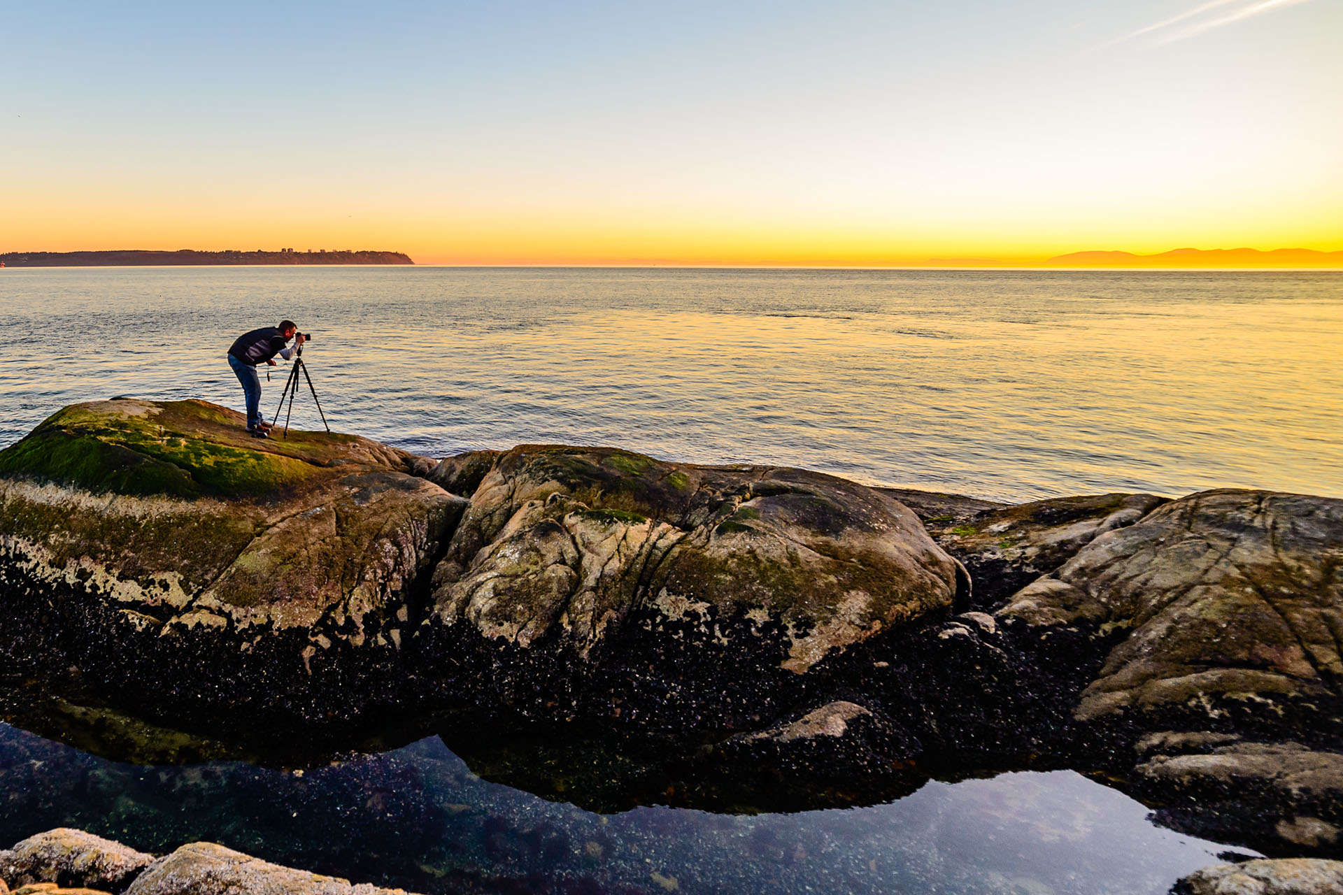 Mark LaBoyteaux shooting a sunset in Vancouver